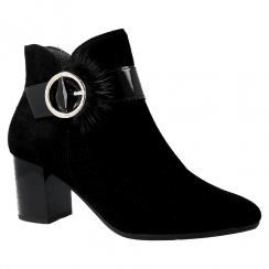 Pitillos Womens Mid Heel suede Leather Buckle Boots - Black