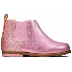 Clarks Drew Fun Pink Sparkle Leather Shoes (F)