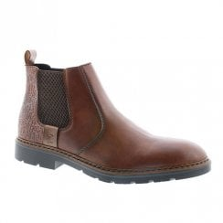 Rieker Mens Brown Leather Chelsea Ankle Boots