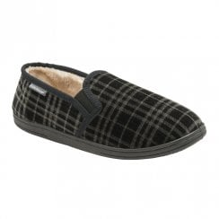 Dunlop Mens Black Ronnie Slip On Comfy Fur Lined Slippers