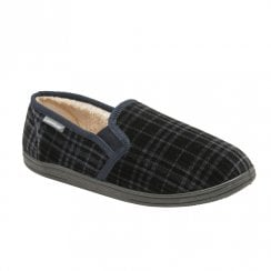 Dunlop Mens Navy Ronnie Slip On Comfy Fur Lined Slippers