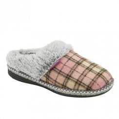 Dunlop Womens Pink Caroline Knitted Cosy Mule Slippers