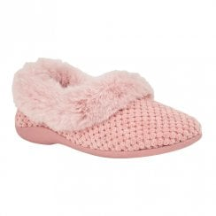 Lotus Womens Nora Pink Knitted Full Shoe Slippers
