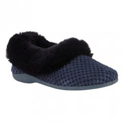 Lotus Womens Nora Navy Knitted Full Shoe Slippers