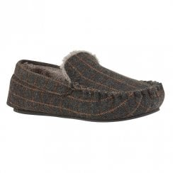 Lotus Mens Ben Grey Moccasin Style Full Shoe Slippers