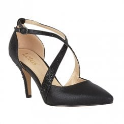 Lotus Womens Black Orla Diamante High Heel Court Shoes