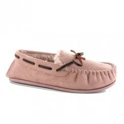 Ella Luxury Faith Suede Mink Pink Ladies Mocassin Slippers