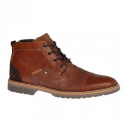 Escape Mens Peanut Brandy Leather Lace Up Zip Up Ankle Boots