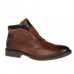 Escape Mens Pepi Chestnut Leather Lace Up Ankle Boots