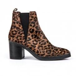 Alpe Leopard Calf Hair Pull On Womens Boot