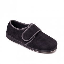 Padders Men's Harry Black Full Velcro Slippers