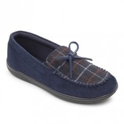 Padders Men's Lounge Navy Moccasin Style Slippers