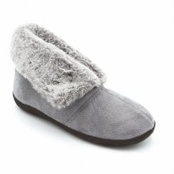 Padders Women's Esme Grey Full Winter Fur Slippers