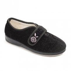 Padders Women's Camilla Black Full Velcro Slippers
