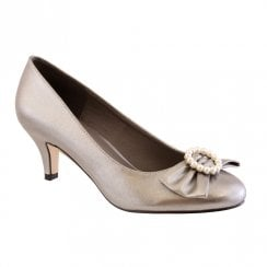 Barino Pewter Bow Pearl Trim Occasion Low Heeled Court Shoes - 460