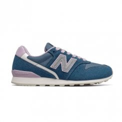 New Balance Womens Blue Pink Running Classics Suede Sneakers