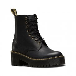 Dr Martens Womens Shriver Hi Black Leather Block Heeled Platform Boots
