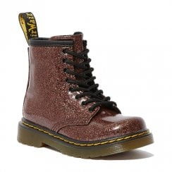 Dr Martens Girls Toddler 1460 Rose Brown Glitter Boots
