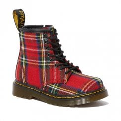 Dr Martens Girls Toddler 1460 Tartan Red Fabric Ankle Boots