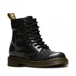 Dr Martens Girls Junior 1460 Black Glitter Ankle Boots