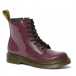 Dr Martens Girls Junior 1460 Patent Plum Lace Up Boots