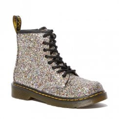 Dr Martens Girls Junior 1460 Chunky Silver Multi Glitter Lace Up Boots