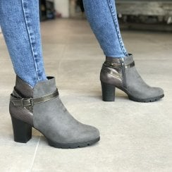 Sprox 489313 Womens Grey Heeled Ankle boots