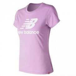 New Balance Womens Essentials Stacked Logo Tee Lilac T-Shirt