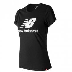 New Balance Womens Essentials Stacked Logo Tee Black T-Shirt