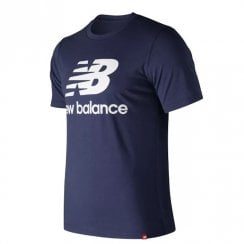 New Balance Mens Navy Essentials Stacked Logo Tee T-Shirt