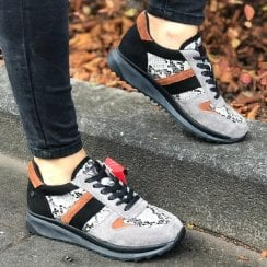 XTI 49590 Womens Grey Multi Suede Trainer