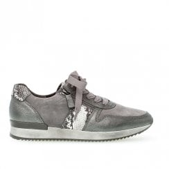 Gabor Lulea Womens Lace Up Sneakers Shoes - Snake Grey