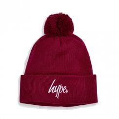 Hype Script Bobble Beanie Burgundy Hat