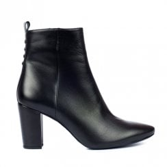 Unisa Ladies Novelda Black Leather Booties With High Heel
