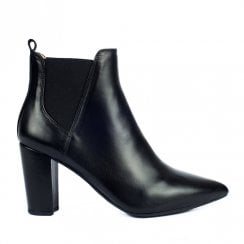 Unisa Ladies Toshi Black Leather Chelsea Booties With High Heel