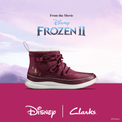 Clarks Cloud Throne Plum 'Frozen' Girls Boots