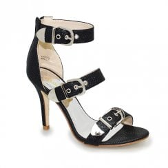 Lunar Lollyfox Shailene Three Buckle Black High Heeled Sandals