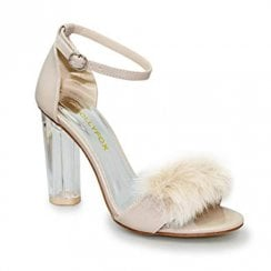 Lunar Lollyfox Katrina Nude Ankle Strap Fluffy Front High Heeled Sandals