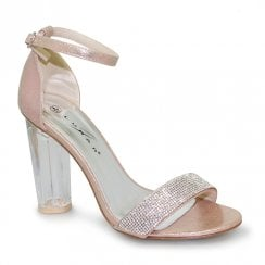 Lunar Gabriella Perspex High Heel Rose Sandals