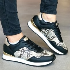 XTI 49591 Womens Black and Gold Snake Print Trainer