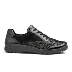 Ara Womens Black Floral Patern Suede Lace Up Sneakers