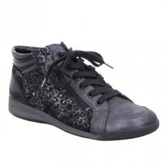 Ara Womens Black Silver Lace Up Zip Sneakers Ankle Shoes