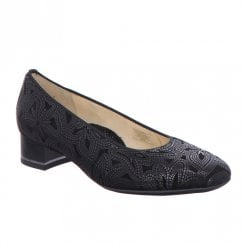 Ara Womens Black Floral Low Heel Slip On Fashionable Pumps