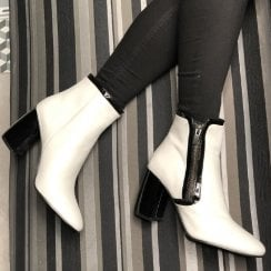 Adele Dezotti Womens White/Black High Block Heel Boots - AX0804X
