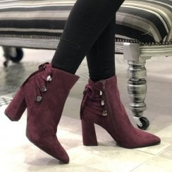 Adele Dezotti Womens Plum Suede High Block Heel Boots - AX1803G