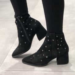 Adele Dezotti Womens Black Suede Studded Block Heel Boots - AX1405X