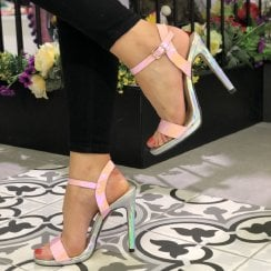 Spot On Womens Pink Patent Holographic Stiletto Sandals - F10912