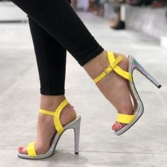 Spot On Womens Yellow Patent Holographic Stiletto Sandals - F10912