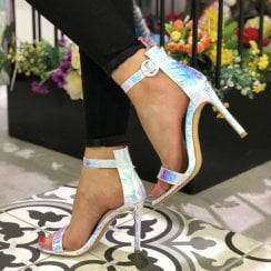 Spot On Womens Snake Holographic Stiletto Sandals - F10915