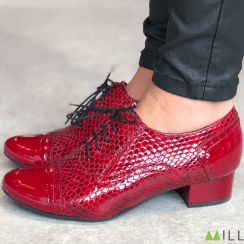 Bioeco by Arka Womens Reptile Effect Red Patent Heeled Brogues